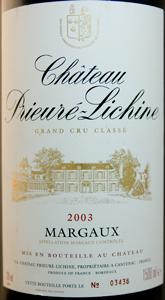 Château PRIEURÉ-LICHINE 2003 MAGNUM